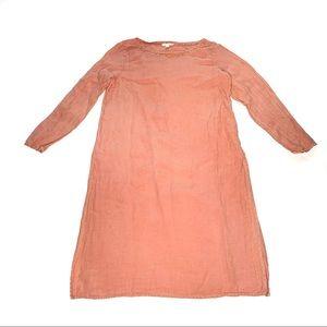 Eileen Fisher Peach Organic Linen Slit Long Dress